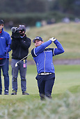 6th October 2017, Carnoustie Golf Links, Carnoustie, Scotland; Alfred Dunhill Links Championship, second round; England's Tyrrell Hatton, winner in 2016 hits his approach shot from the fairway on the eighteenth hole on the Championship Links, Carnoustie at the Alfred Dunhill Links Championship