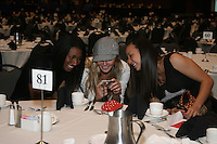 15 December 2006: Foluke Akinradewo and Kristin Richards, Third Team member, during Stanford's 2006 American Volleyball Coaches Association (AVCA) Division I All-American Teams Award Banquet at the Qwest Center in Omaha, NE.