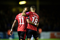 Lincoln City's Bruno Andrade, left, celebrates scoring his side's second goal with team-mate Jorge Grant<br /> <br /> Photographer Chris Vaughan/CameraSport<br /> <br /> The Carabao Cup Second Round - Lincoln City v Everton - Wednesday 28th August 2019 - Sincil Bank - Lincoln<br />  <br /> World Copyright © 2019 CameraSport. All rights reserved. 43 Linden Ave. Countesthorpe. Leicester. England. LE8 5PG - Tel: +44 (0) 116 277 4147 - admin@camerasport.com - www.camerasport.com