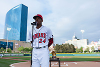 Indianapolis Indians third baseman Ke'Bryan Hayes (24) thanks the fans after being awarded his 2018 Rawlings Gold Glove Award before an International League game against the Columbus Clippers at Victory Field on April 29, 2019 in Indianapolis, Indiana. (Zachary Lucy/Four Seam Images)