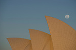 Supermoon rising next to the Sydney Opera House, NSW, Australia