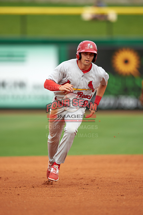 Palm Beach Cardinals center fielder Thomas Spitz (8) running the bases during a game against the Clearwater Threshers on April 15, 2017 at Spectrum Field in Clearwater, Florida.  Clearwater defeated Palm Beach 2-1.  (Mike Janes/Four Seam Images)