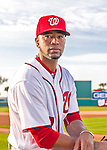 28 February 2016: Washington Nationals pitcher Felipe Rivero poses for his Spring Training Photo-Day portrait at Space Coast Stadium in Viera, Florida. Mandatory Credit: Ed Wolfstein Photo *** RAW (NEF) Image File Available ***