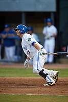 Bluefield Blue Jays catcher Alejandro Kirk (5) follows through on a swing during a game against the Bristol Pirates on July 26, 2018 at Bowen Field in Bluefield, Virginia.  Bristol defeated Bluefield 7-6.  (Mike Janes/Four Seam Images)