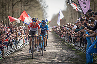 Jelle Wallays (BEL/Lotto Soudal) with in his wheel Marc Soler (ESP/Movistar) on the cobbles of the Arenberg Forest / Bois de Wallers.<br /> <br /> 116th Paris-Roubaix (1.UWT)<br /> 1 Day Race. Compiègne - Roubaix (257km)