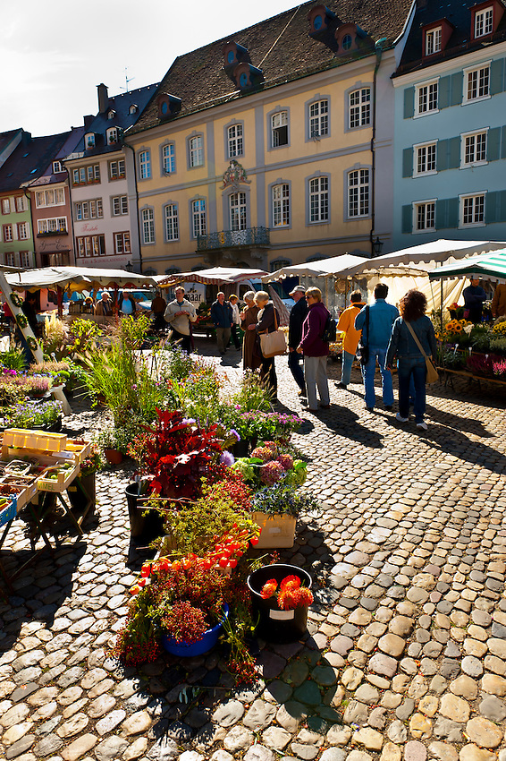 Flower Market outside the Munster (Cathedral of Our Lady), Freiburg, Baden-Württemberg, Germany