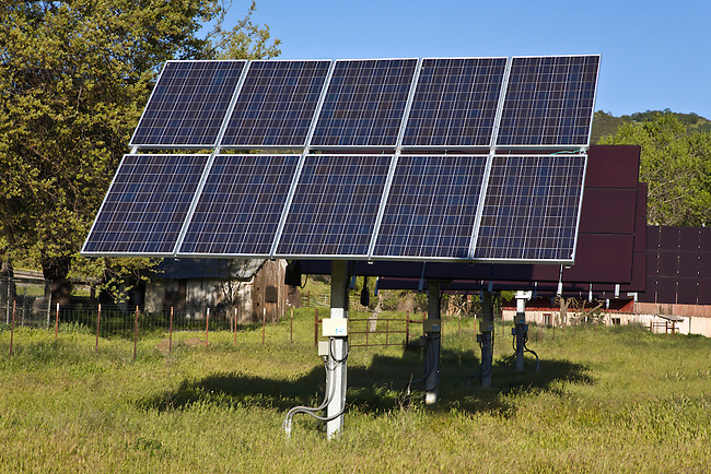 SOLAR PANEL array at a Coastal Range cattle ranch in central CALIFORNIA