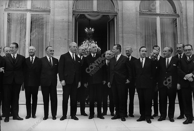 West German and French talks; left to right: French Ministers, Pierre Messmer and PM Georges Pompidou, West German Chancellor Kurt Georg Kiesinger, French President Charles de Gaulle, West German Minister of Foreign Affairs Willy Brandt, and French Minister Michel Debre, Elysee Palace, Paris, France, January 1967