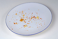 Pie crumbs in an empty plate