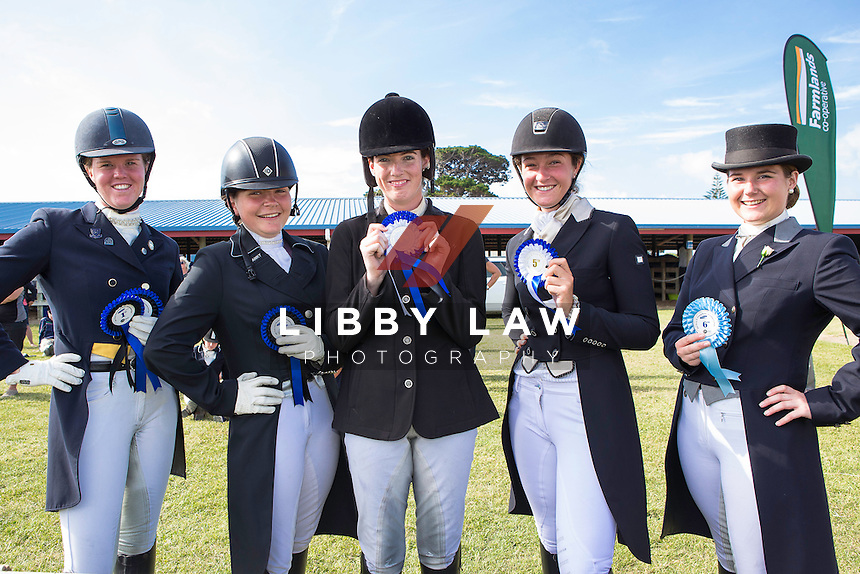 Young Rider Level 6 6A:  (L-R) 1ST-Catherine West (ANAROCZ); 3RD-Catherine West (AMICI II); 2ND-Lucarne Dolley (MZUNGU); 4TH-Mikayla Woods (RAMSBURY); 5TH-Natayla Weekes (KINNORDY GYM); 6TH-Sarah Wadworth (FAEMOSS BW): 2015 NZL-SAMSUNG/GTL Networks NZ Pony and Young Rider Championships (Tuesday 13 January) CREDIT: Libby Law COPYRIGHT: LIBBY LAW PHOTOGRAPHY