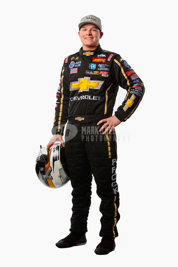 Feb 6, 2019; Pomona, CA, USA; NHRA top fuel driver Austin Prock poses for a portrait during NHRA Media Day at the NHRA Museum. Mandatory Credit: Mark J. Rebilas-USA TODAY Sports