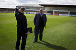 Opposing managers Gary Jardine (left) and Dick Campbell chatting on the pitch at Gayfield Park before Arbroath hosted Edinburgh City in an SPFL League 2 fixture. The newly-promoted side from the Capital were looking to secure their place in SPFL League 2 after promotion from the Lowland League the previous season. They won the match 1-0 with an injury time goal watched by 775 spectators to keep them 4 points clear of bottom spot with three further games to play.