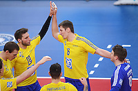 Volleyball 1. Bundesliga Saison 2016/2017  28.12.2016 TV Rottenburg - VfB Friedrichshafen JUBEL VfB Friedrichshafen; Michal Finger (li) und  Jakob Guenthoer