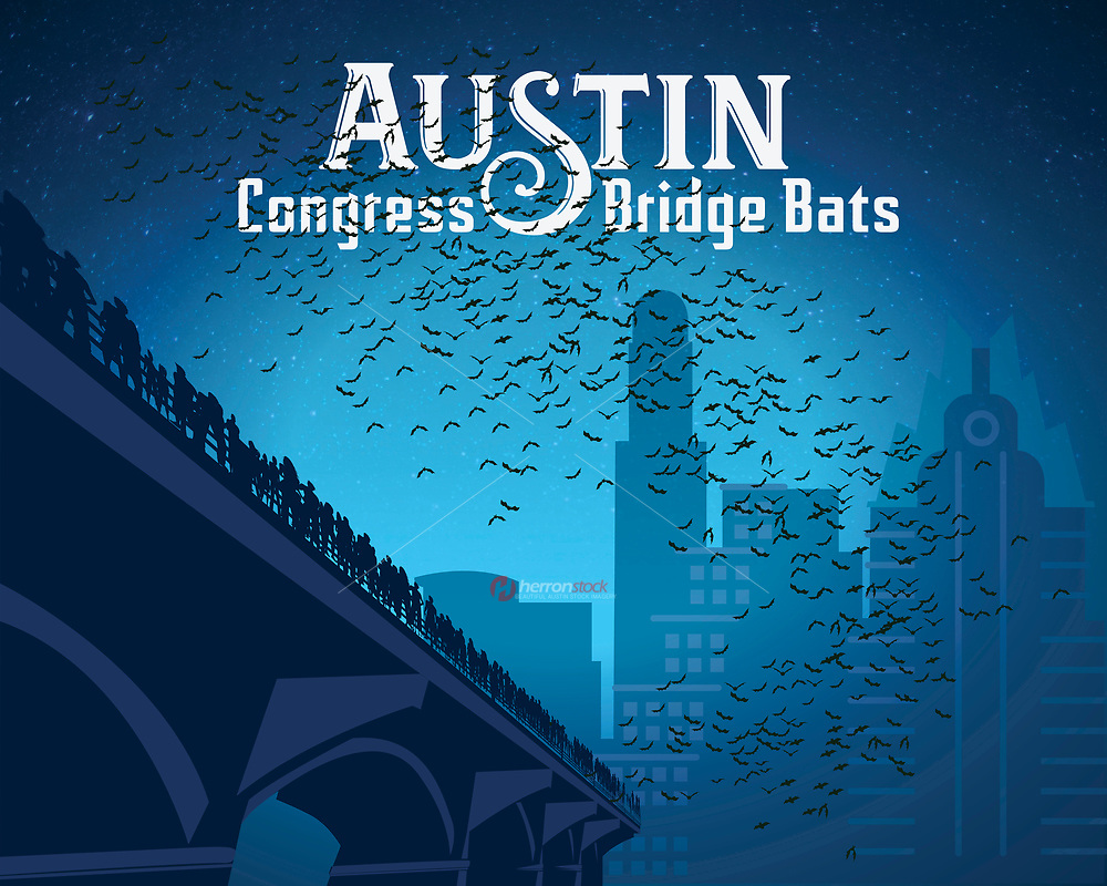 Austin Congress Bridge Bats in silhouette fine art illustration print in blue. The Congress Avenue Bat Bridge spans Lady Bird Lake in downtown Austin and is home to the largest urban bat colony in North America