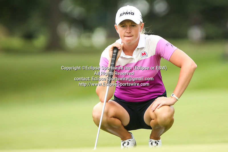 Stacy Lewis reviews the 10th green at the LPGA Championship 2014 Sponsored By Wegmans at Monroe Golf Club in Pittsford, New York on August 16, 2014