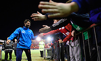 Lincoln City manager Danny Cowley celebrates the win with fans at the end of the game <br /> <br /> Photographer Chris Vaughan/CameraSport<br /> <br /> Vanarama National League - Lincoln City v Chester - Tuesday 11th April 2017 - Sincil Bank - Lincoln<br /> <br /> World Copyright &copy; 2017 CameraSport. All rights reserved. 43 Linden Ave. Countesthorpe. Leicester. England. LE8 5PG - Tel: +44 (0) 116 277 4147 - admin@camerasport.com - www.camerasport.com