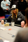 Team Pokerstars.net Pro Vanessa Rousso contemplates making a call.  She folded.