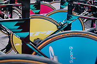 Team Canyon-Sram's colourful teambikes/wheels ready to roll<br /> <br /> UCI WOMEN&lsquo;S TEAM TIME TRIAL<br /> Ötztal to Innsbruck: 54.5 km<br /> <br /> UCI 2018 Road World Championships<br /> Innsbruck - Tirol / Austria