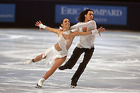 November 19, 2005; Paris, France; Figure skating stars FEDERICA FAIELLA and MASSIMO SCALI of Italy skate to bronze in ice dancing at Trophee Eric Bompard, ISU Paris Grand Prix competition.  They are one of the favorites for medals in ice dancing leading up to Torino 2006 Olympics.<br />Mandatory Credit: Tom Theobald/ <br />Copyright 2005 Tom Theobald