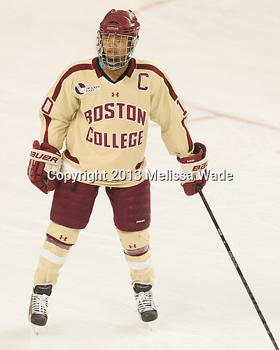 Blake Bolden (BC - 10) - The Boston College Eagles defeated the University of Connecticut Huskies 6-1 in BC's senior game on Saturday, February 16, 2013, at Kelley Rink in Conte Forum in Chestnut Hill, Massachusetts.