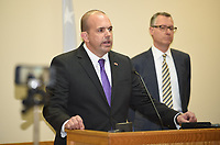 """NWA Democrat-Gazette/DAVID GOTTSCHALK Duane """"Dak"""" Kees, United States Attorney for the Western District of Arkansas, announces Wednesday, October 9, 2019 in Springdale that Paul Petersen, an attorney and the county assessor of Maricopa County, Ariz., faces 19 federal charges on charges they conspired to bring pregnant women from the Marshall Islands to Arkansas to give up their babies for adoption. Maki Takehisa, 39, was charged Wednesday with one count each of money laundering and mail fraud. Takehisa, of Springdale, also was charged earlier this year in U.S. District Court with aiding and abetting alien smuggling, a violation of the Compact of Free Association."""