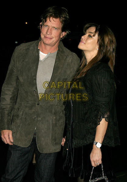 """THOMAS HADEN CHURCH & MIA (WIFE).Special screening of """"Smart People"""" hosted by The Cinema Society at the Landmark Sunshine Cinema, New York, NY, USA..March 31st, 2008.half length grey gray suit jacket suede black lace married husband wife profile side view .CAP/LNC/TOM.©TOM/LNC/Capital Pictures."""