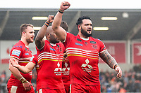 Picture by Alex Whitehead/SWpix.com - 19/03/2017 - Rugby League - Betfred Super League - Salford Red Devils v Castleford Tigers - AJ Bell Stadium, Salford, England - Salford's Ben Murdoch-Masila (R) celebrates the win.