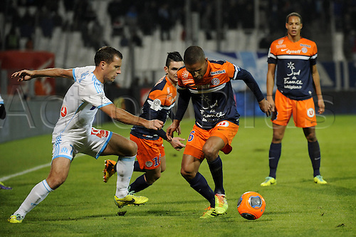 29.11.2013. Marseilles, France. French League 1 football. Marseilles versus Montpellier.  Cheyrou (OM) - Marveaux (MHSC)