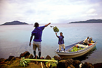 Men throwing bananas into a small boat that is being loaded with tropical produce in Truk, Micronesia.
