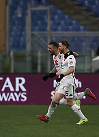 Football, Serie A: AS Roma - Torino, Olympic stadium, Rome, January 19, 2019. <br /> Torino's Cristian Daniel Ansaldi (r) celebrates after scoring with his teammate Vittorio Parigini (l) during the Italian Serie A football match between AS Roma and Torino at Olympic stadium in Rome, on January 19, 2019.<br /> UPDATE IMAGES PRESS/Isabella Bonotto