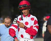 Mind Control (no. 2), ridden by John Velazquez and trained by Gregory Sacco, wins the 114th running of the grade 1 Hopeful Stakes for two year olds on September 03, 2018 at Saratoga Race Course in Saratoga Springs, New York. (Bob Mayberger/Eclipse Sportswire)