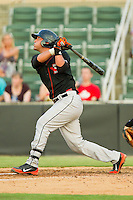 Gabriel Lino #35 of the Delmarva Shorebirds follows through on his swing against the Kannapolis Intimidators at CMC-Northeast Stadium on June 21, 2012 in Kannapolis, North Carolina.  The Intimidators defeated the Shorebirds 6-5 in 11 innings.  (Brian Westerholt/Four Seam Images)