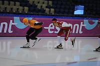 SCHAATSEN: HEERENVEEN: 31-01-2014, IJsstadion Thialf, Training Topsport, Jan Blokhuijsen, Tim Roelofsen, ©foto Martin de Jong