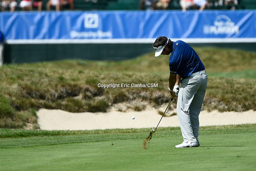September 1, 2014 -  Norton, Mass. - Bubba Watson hits a shot to the 9th green during the fourth round of the PGA FedEx Cup playoffs, Deutsche Bank Championship, held at the Tournament Players Club in Norton Massachusetts. Eric Canha/CSM