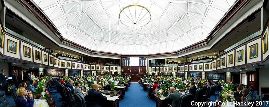 TALLAHASSEE, FLA. 3/7/17-House Speaker Richard Corcoran, R-Land O'Lakes, talks during opening day of the legislative session at the Capitol in Tallahassee.<br /> <br /> EDITOR'S NOTE: This image is comprised of multiple photos taken at the same moment and stitched together in photoshop to create a panorama. <br /> <br /> COLIN HACKLEY PHOTO