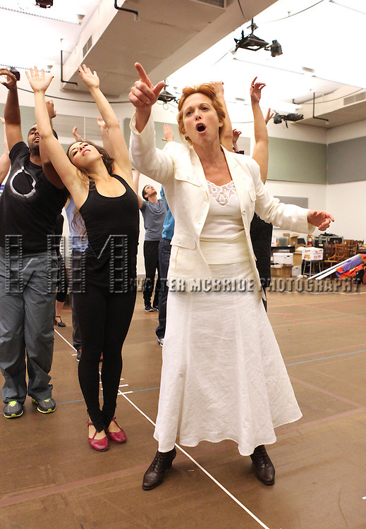 Carolee Carmello and ensemble cast performing at the rehearsal presentation for 'Scandalous The Musical' at the New 42nd Street Studios on Monday, Sept. 24, 2012 in New York.