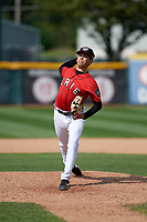 Erie SeaWolves relief pitcher Mark Ecker (25) delivers a pitch during a game against the Hartford Yard Goats on August 6, 2017 at UPMC Park in Erie, Pennsylvania.  Erie defeated Hartford 9-5.  (Mike Janes/Four Seam Images)