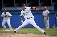 Princeton Rays relief pitcher Christopher Gau (10) delivers a pitch during the first game of a doubleheader against the Greeneville Reds on July 25, 2018 at Hunnicutt Field in Princeton, West Virginia.  Princeton defeated Greeneville 6-4.  (Mike Janes/Four Seam Images)