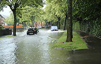 Sunday 10th August 2014<br /> Pictured: Flash Flooding in Cardiff<br /> RE: Flash flooding on Greenway Road, Rumney, Cardiff, South Wales