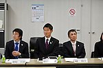 (L to R) Nobuharu Asahara, Kentaro Asahi, Kazuhiro Koshi, FEBRUARY 28, 2013 : Tokyo Olympic and Paralympic Games 2020 bidding committee held athletes' committee .in order to advance the bidding activities of Tokyo Olympic and Paralympic Games 2020 at Kishi memorial gymnasium, Tokyo, Japan. (Photo by Jun Tsukida/AFLO SPORT) [0003]