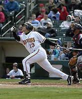 April 10, 2004:  Alex Prieto of the Rochester Red Wings, Triple-A International League affiliate of the Minnesota Twins, during a game at Frontier Field in Rochester, NY.  Photo by:  Mike Janes/Four Seam Images