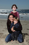 LAGUNA BEACH, CA - FEBRUARY 1:  Olympic Gold Medalist and Former World-Record Holder Janet Evans poses for a photo with two year-old son Jake and five year-old daughter Sydney on February 17, 2012 in Laguna Beach, California. Evans has qualified for the Olympic Trials and will try to make the U.S. Olympic team at the age of 40. (Photo by Donald Miralle) *** Local Caption ***