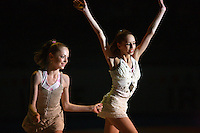 (L-R)  Mariya Mateva and Tzvetelina Stoyanova of Bulgaria (juniors)  perform duet gala exhibition at finish of 2008 European Championships at Torino, Italy on June 7, 2008.  Photo by Tom Theobald.