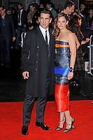 Colin Farrell and Ruth Wilson<br /> attending the 57th BFI London Film Festival Closing Night Gala World Premiere of 'Saving Mr Banks', Odeon Cinema, Leicester Square, London, England. <br /> 20th October 2013<br /> full length black orange blue grey gray  strapless stripe dress cuff bracelet coat suit <br /> CAP/MAR<br /> © Martin Harris/Capital Pictures