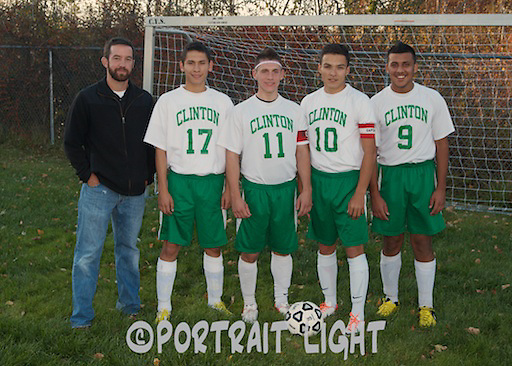 Coach Joel Goulet with CHS seniors (from left) Helvert Martinez, Ardell Spinder, Igor Rosa and Hasan Sabri.