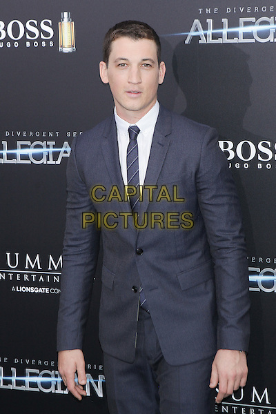 NEW YORK, NY - MARCH 14: Miles Teller attends the 'Allegiant' New York premiere at AMC Loews Lincoln Square 13 theater on March 14, 2016 in New York City. <br /> CAP/MPI99<br /> &copy;MPI99/Capital Pictures
