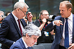 BRUSSELS - BELGIUM - 21 June 2019 -- European Council, summit meeting with heads of state. -- Antti Rinne Prime Minister of Finland in discussion with Donald Tusk President of the European Council. Mario Centeno president of the Eurogroup in front. -- PHOTO: Juha ROININEN / EUP-IMAGES