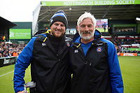 Matt Garvey and Todd Blackadder of Bath Rugby pose for a photo after the match. Gallagher Premiership match, between Leicester Tigers and Bath Rugby on May 18, 2019 at Welford Road in Leicester, England. Photo by: Patrick Khachfe / Onside Images