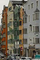 Pastel colour buildings, Innsbruck, Tyrol, Austria.