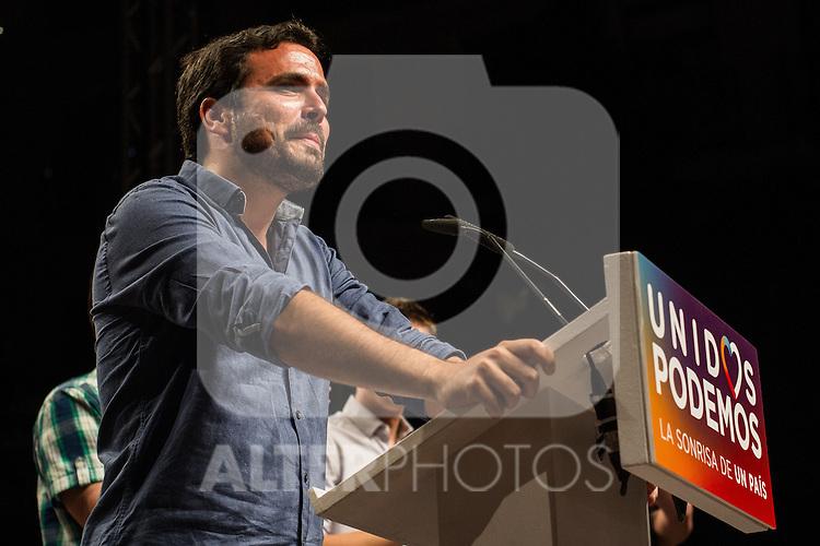 Spanish politician Alberto Garzon of Unidos Podemos party, after the results of the national elections at plaza Reina Sofia, Spain. 26,06,2016. (ALTERPHOTOS/Rodrigo Jimenez)